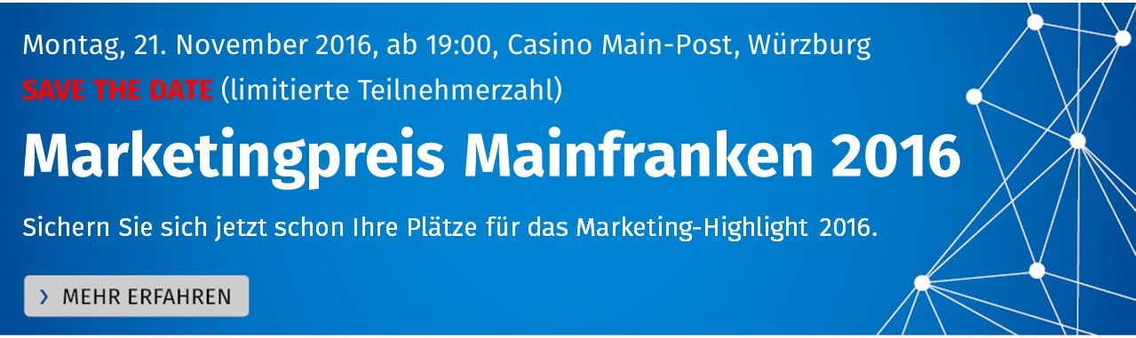 Save the date: Marketingpreis Mainfranken 2016