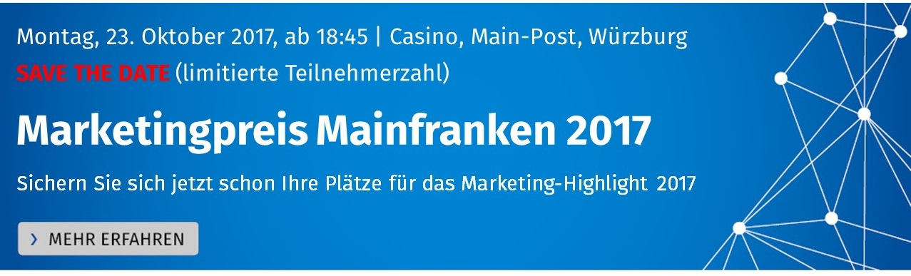 Banner Save the date Marketingpreis Mainfranken 2017
