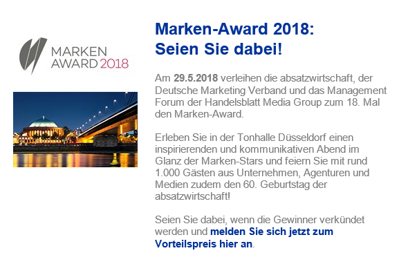 Marken Award 2018 Anmeldung